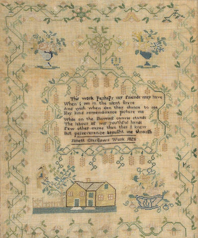 An American silk and linen needlework verse sampler Janett Glasgow dated 1828