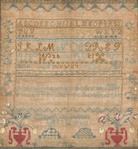 An American silk and linen needlework alphabet and verse sampler Elizabeth Woodman dated 1816