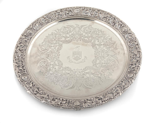 Edward VII silver antique reproduction tripod salver by  Mappin & Webb