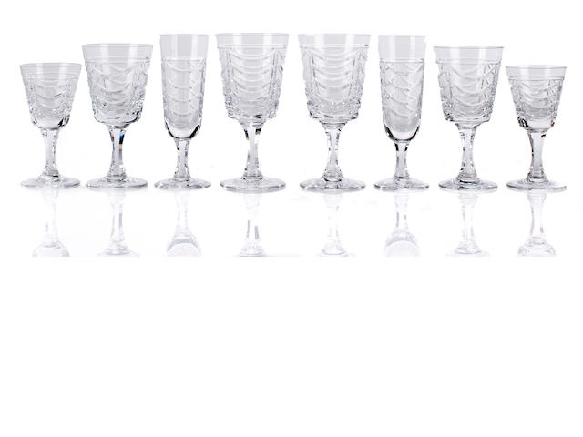 A Brierley cut glass stemware service and a clear glass jug