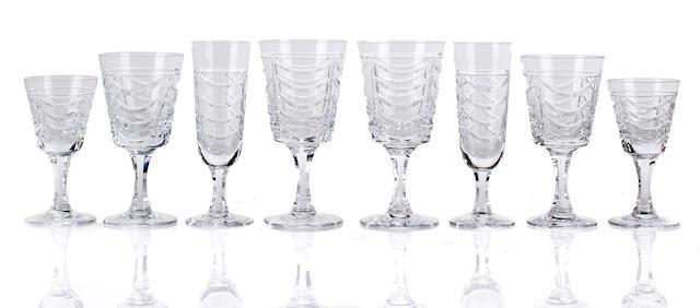 A Brierley cut glass stemware service and a clear glass jug