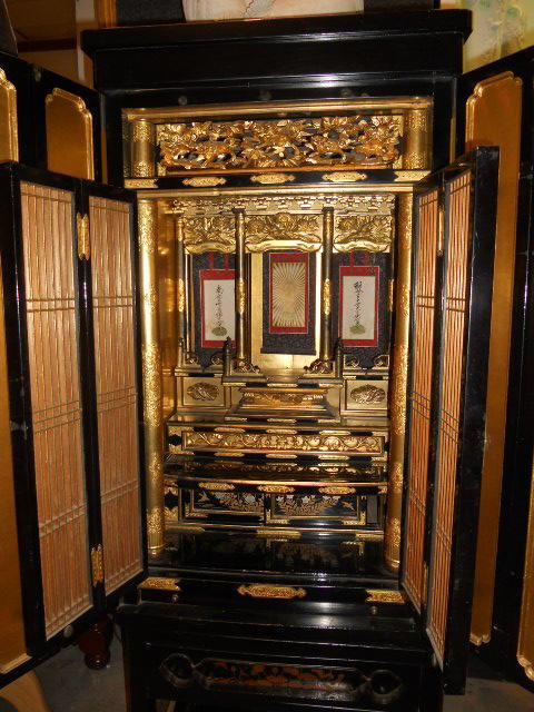 A gilt and black lacquer butsudan 20th century
