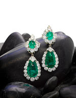 A pair of diamond, emerald cabochon and platinum earrings