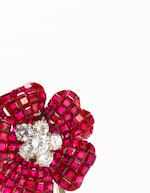 A ruby and diamond brooch, Van Cleef and Arpels