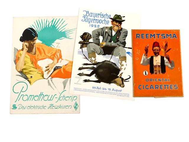 Ludwig Hohlwein (German, 1874-1949); Reemtsma Oriental Cigarettes; Bayerische Jägerwoche; Prometheus-Scherip; (3)