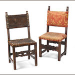 Two italian baroque walnut upholstered side chairs, late 17th/early 18thc.