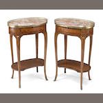 A pair of Louis XV/XVI transitional gilt bronze mounted marquetry table a ecrire, after Topino, late 19th century