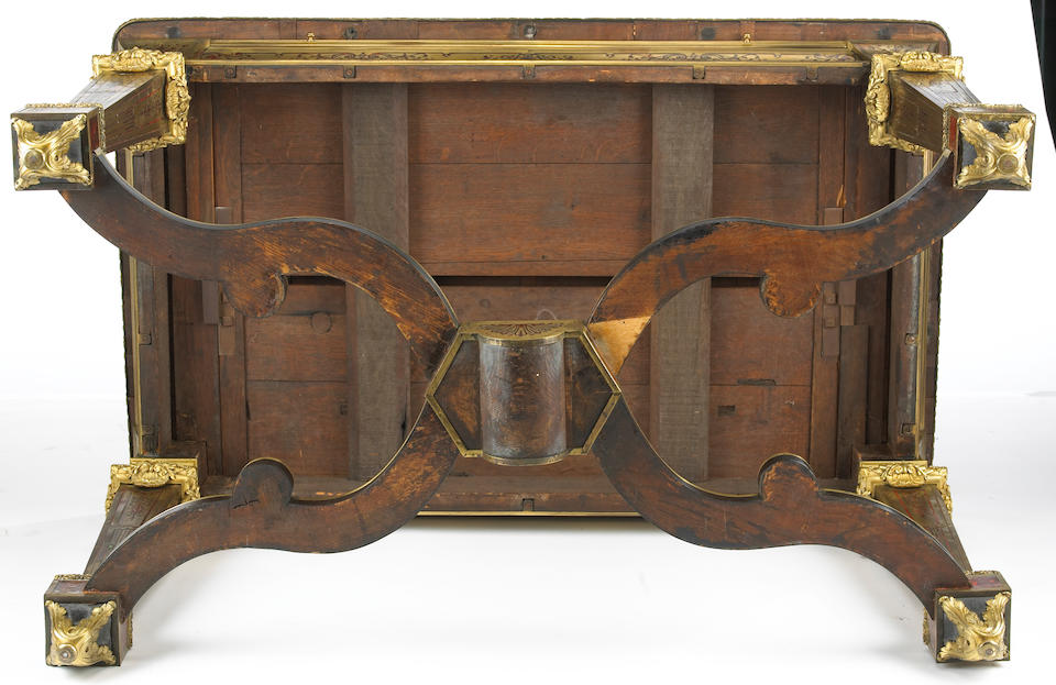 A fine Louis XIV style gilt bronze mounted contre partie boulle marquetry and rosewood table de milieu stamped F. Lesage mid-19th century