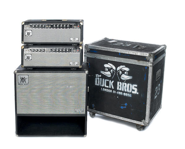 A pair of 1970s Music Man HD-130 with a speaker cabinet, AMPS: Serial Nos. A004140 and A004095, Chassis Nos. 2100-130, 4