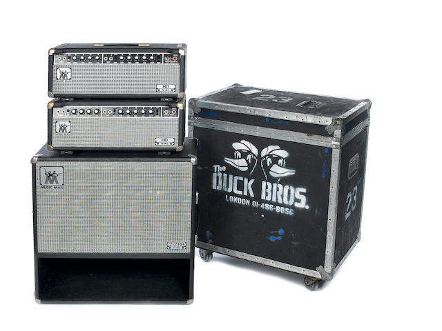 A pair of 1970s Music Man HD-130 with a speaker cabinet, AMPS: Serial Nos. A004140 and A004095, Chassis Nos. 2100-130,4