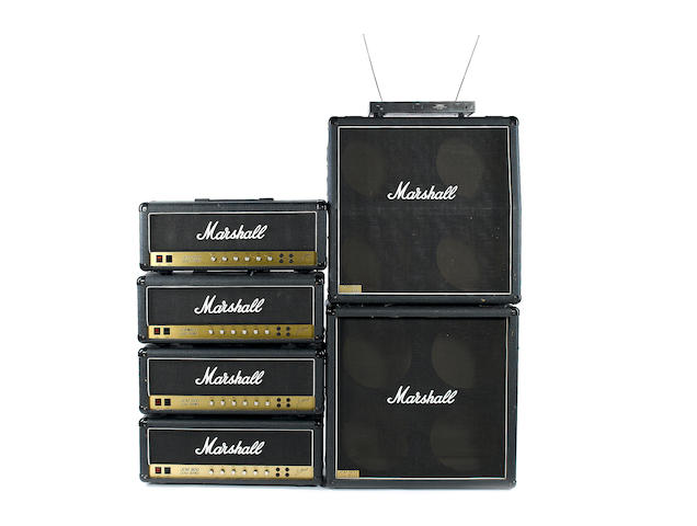 1984 Marshall JCM-800 amplifiers and speaker cabinets A pair of JCM 800 Lead series 50W MKII amps: Serial No.s SO3314 and SO3293; and a pair of JCM 800 Lead series 100W MKII Super Lead: Serial No.s SI5384 and SI5385; 7