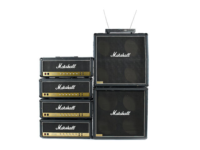 1984 Marshall JCM-800 amplifiers and speaker cabinets A pair of JCM 800 Lead series 50W MKII amps: Serial No.s SO3314 and SO3293; and a pair of JCM 800 Lead series 100W MKII Super Lead: Serial No.s SI5384 and SI5385;7