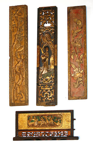 A group of Chinese carved wood architectural fragments