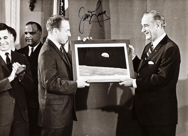 Apollo 8 crew and LBJ sgd by Lovell