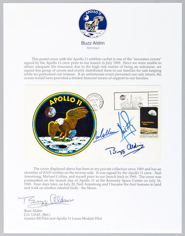 CREW-SIGNED POSTAL COVER—LIFE INSURANCE FOR APOLLO 11.