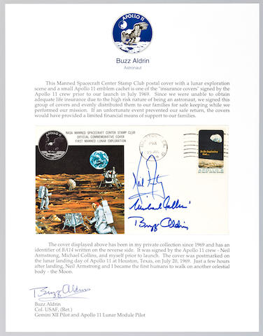 CREW SIGNED LUNAR LANDING INSURANCE COVER.