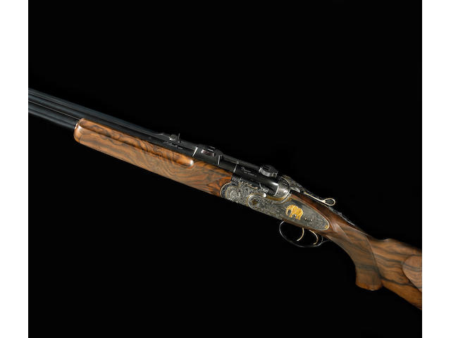 A cased, engraved and gold-inlaid .375 H&H Magnum Beretta Model SSO Express double rifle