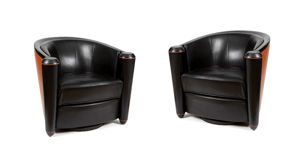 A pair of Pace leather swivel club chairs