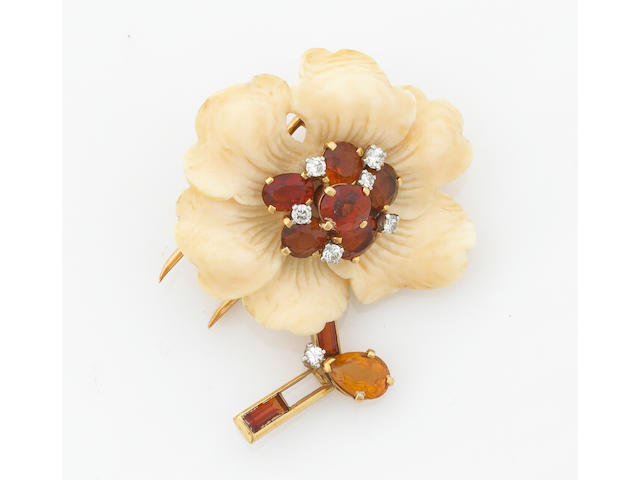 An ivory, citrine and diamond flower brooch, Cartier Paris
