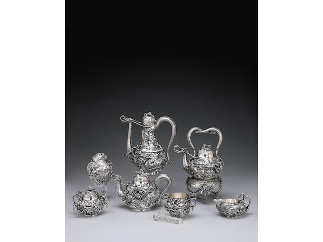 A large and ornate export silver partial tea set Meiji Period, Early 20th Century