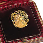 An art nouveau diamond and eighteen karat gold brooch, designed by Joe Descomps,