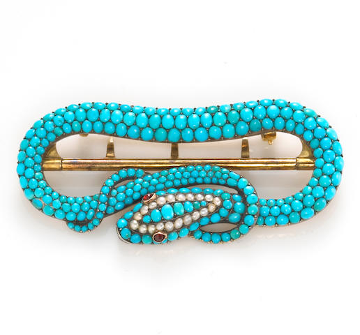 An antique turquoise and seed pearl belt buckle,