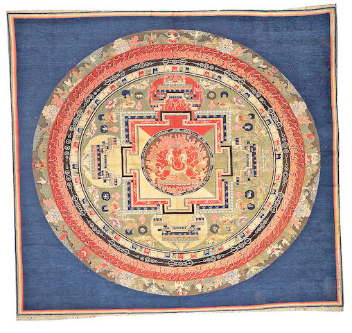 A Peking Mandala rug China, size approximately 7ft. 9in. x 8ft. 5in.