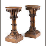 A pair of Continental Gothic Revival oak pedestals, mid 19th century