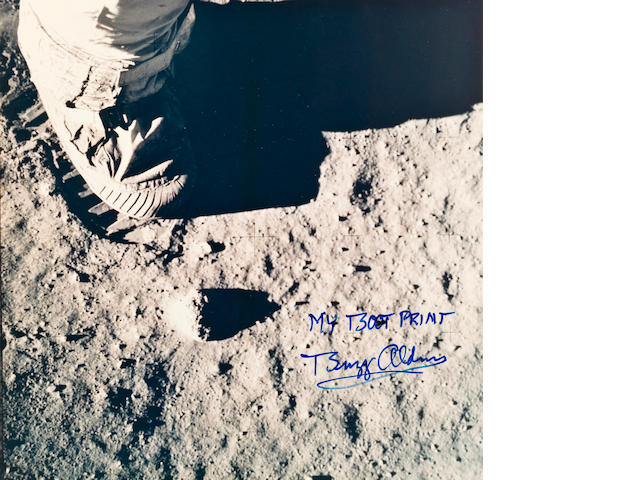 Bootprint on moon photo Aldrin sgd