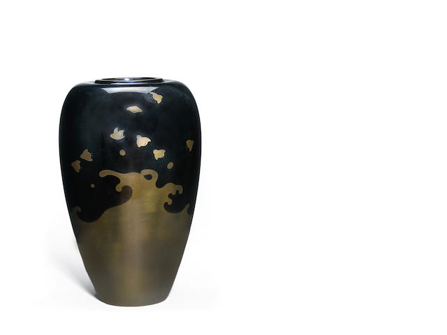 Vase in an ovoid form with a design of plovers flying over waves