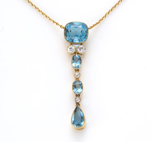 An aquamarine and diamond pendant necklace