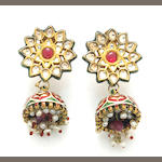 A Mughal style pair of gem-set and enameled pendant earrings