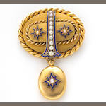 An antique cultured pearl and enamel mourning brooch