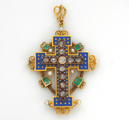 An antique diamond, enamel, emerald and seed pearl cruciform pendant,