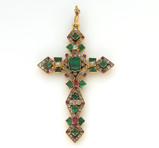 An emerald, ruby and diamond cruciform pendant