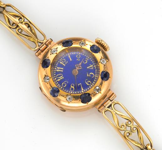 A sapphire, diamond, enamel and fifteen karat gold integral bracelet wristwatch, Le Roy & Fils