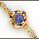 A sapphire, diamond, enamel and fifteen karat gold integral bracelet wristwatch, Le Roy & Fils