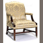 A George III mahogany library chair<br>fourth quarter 18th century