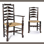 An assembled set of eight English oak, elm and rush Lancashire chairs<br>18th/19th century