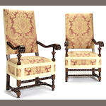 A set of six Northern Italian Baroque style walnut armchairs