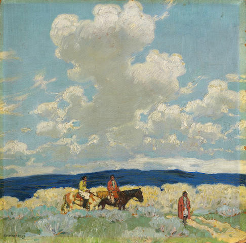 Ernest Martin Hennings (American, 1886-1956) Taos Indians beneath the clouds 14 x 14in