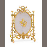 A Louis XVI Style Gilt Bronze Fire Screen