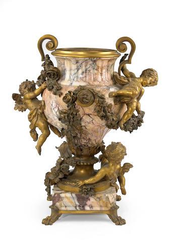 A Fine Louis XV Style Gilt Bronze Mounted Brèche Violet Marble Figural Jardinière