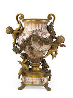 A fine Louis XV style gilt bronze mounted brèche violette marble figural jardinière Robert Frères  fourth quarter 19th century