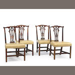 A set of four Chippendale mahogany side chairs<br>American or English<br>late 18th century