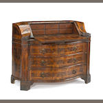 An Italian Baroque walnut secretaire