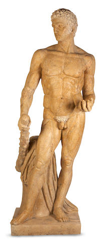 A life size carved granite figure of Hercules