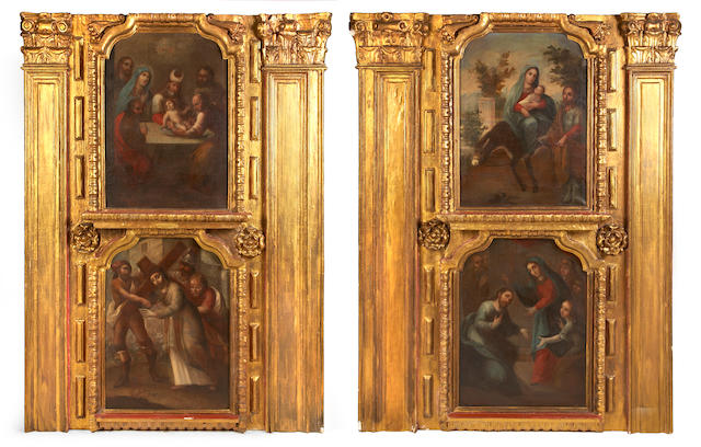 A fine pair of Spanish Colonial Baroque parcel gilt and painted boiserie panels 18th century