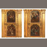 A fine pair of Spanish Colonial Baroque parcel gilt and painted boiserie panels<br>18th century