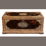 A Levantine shell, bone and tortoiseshell mounted coffer<br>late 19th century